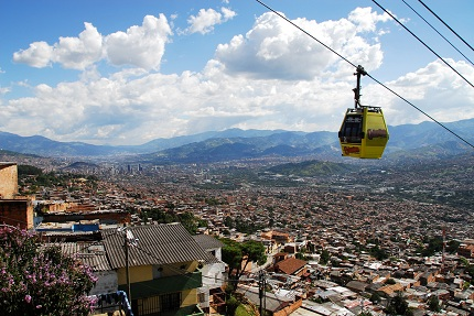 Photo: a gondola on the Santo Domingo Metro Cable.